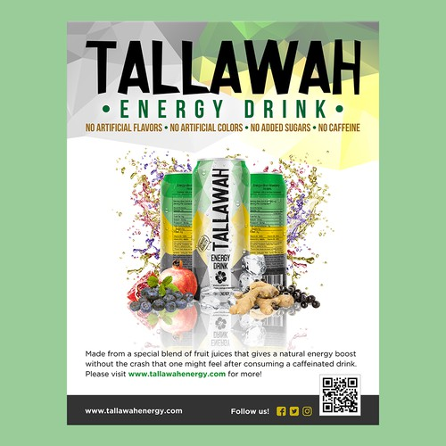 Design a modern flyer and banner for Tallawah Energy Drink