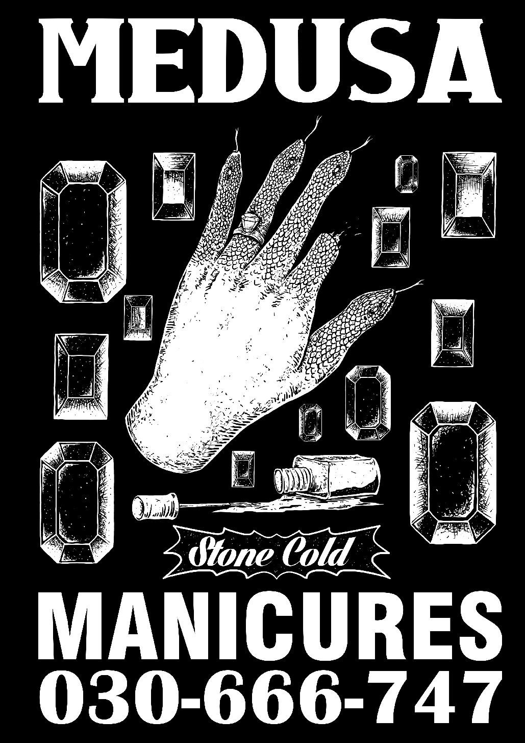 Design tough merch for a manicure salon with lots of snakes