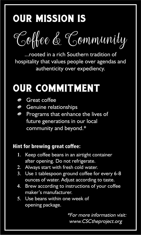 Label for coffee & Congress Street Coffee brand identity