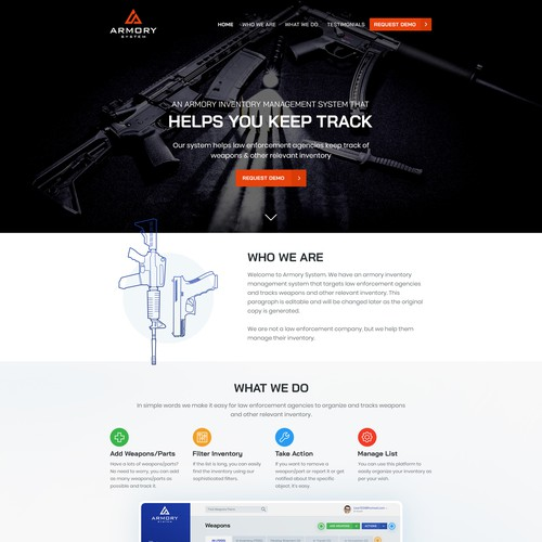 Home Page of Armory System