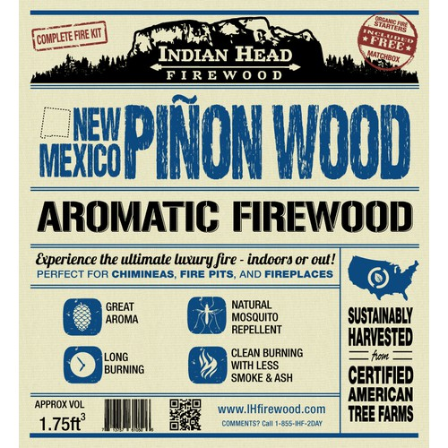 Product label for Indian Head Firewood
