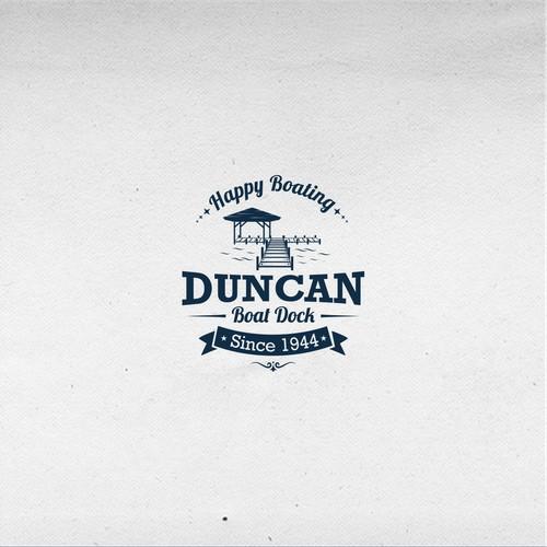 logo vintage concept for Duncan Boat Dock