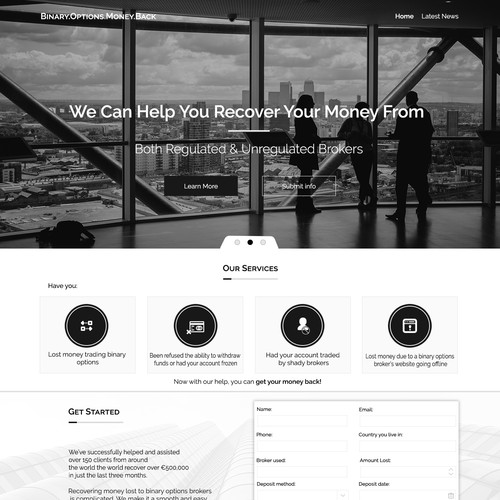 Landing Page for consultant and assist people