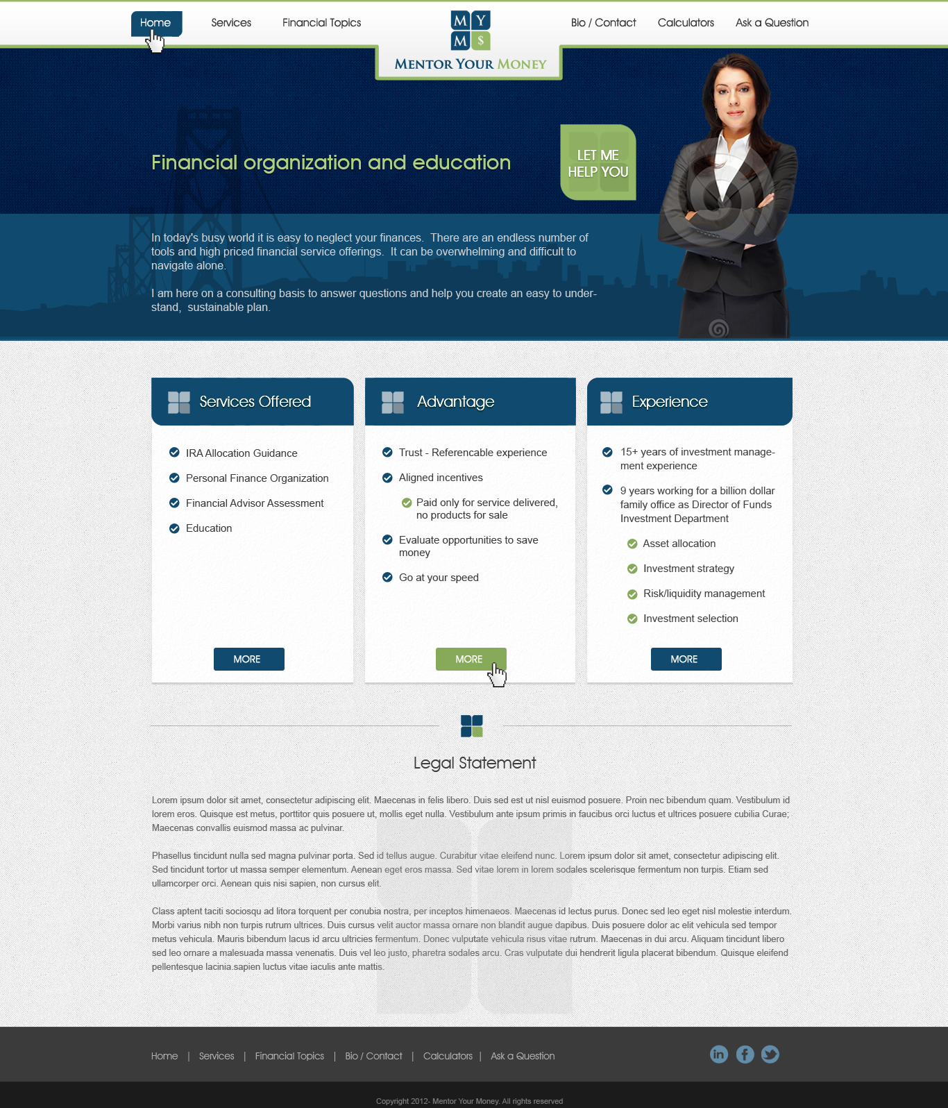 Create the next website design for Mentor Your Money