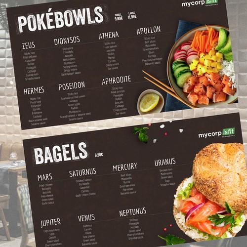 Healthy fresh menu screen