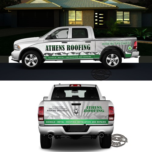 Athens Roofing car wrap