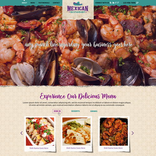 Landing page Design for Mexican Restaurant
