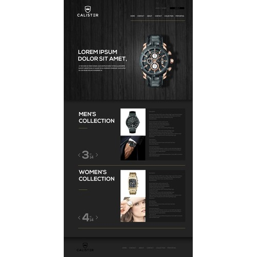 Calister - Website for Fashion Watch Company