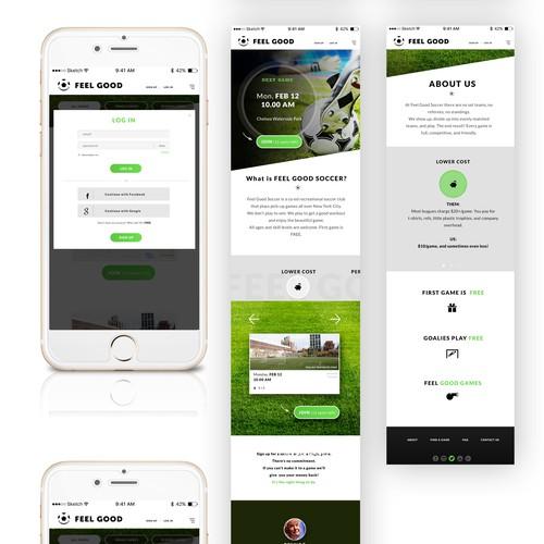 Web and mobile design for Feel Good Soccer