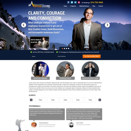 Vertical Lessons  landing page