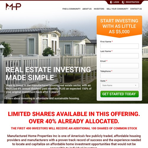 Landing Page for Real Estate Investment Company