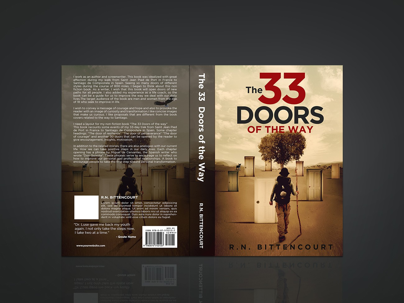 "Please, create an amazing layout for my book ""The 33 doors of the way"""