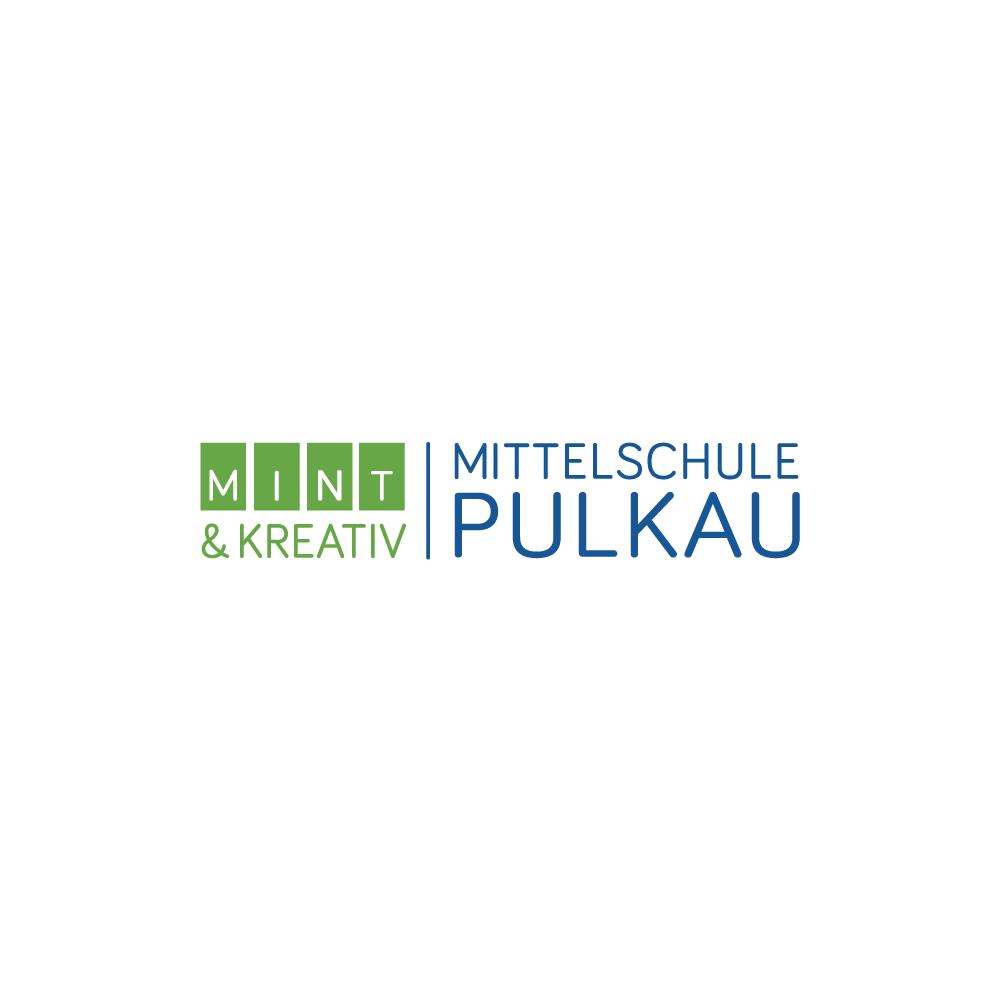 Prägnantes Logo für Mittelschule Pulkau mit MINT und KREATIV als Wort/Bildmarke   Word figurative mark for school