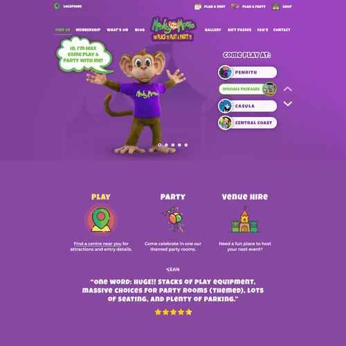Re-design Monkey Mania's kids entertainment website