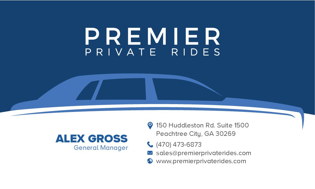 Design a brand new business card for Private Transportation Company in Atlanta