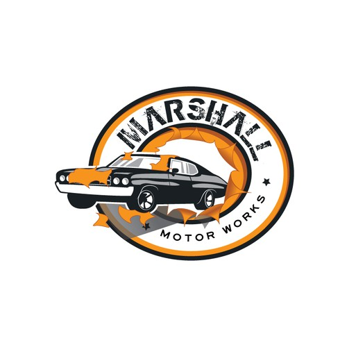 Car dealership retro logo design