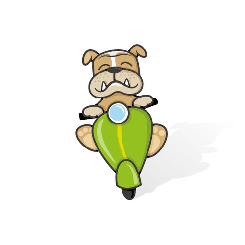 Bulldog Scooter cartoon logo