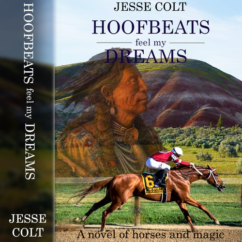 Book cover about horse racing and a native medicine man.