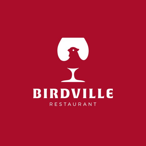 Negative space logo for Birdville restaurant