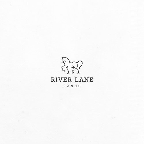 Minimalistic horse design logo for River Lane Ranch