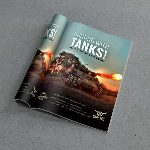 Magazine ad for our Tank Driving experience and our Hunting Ranch