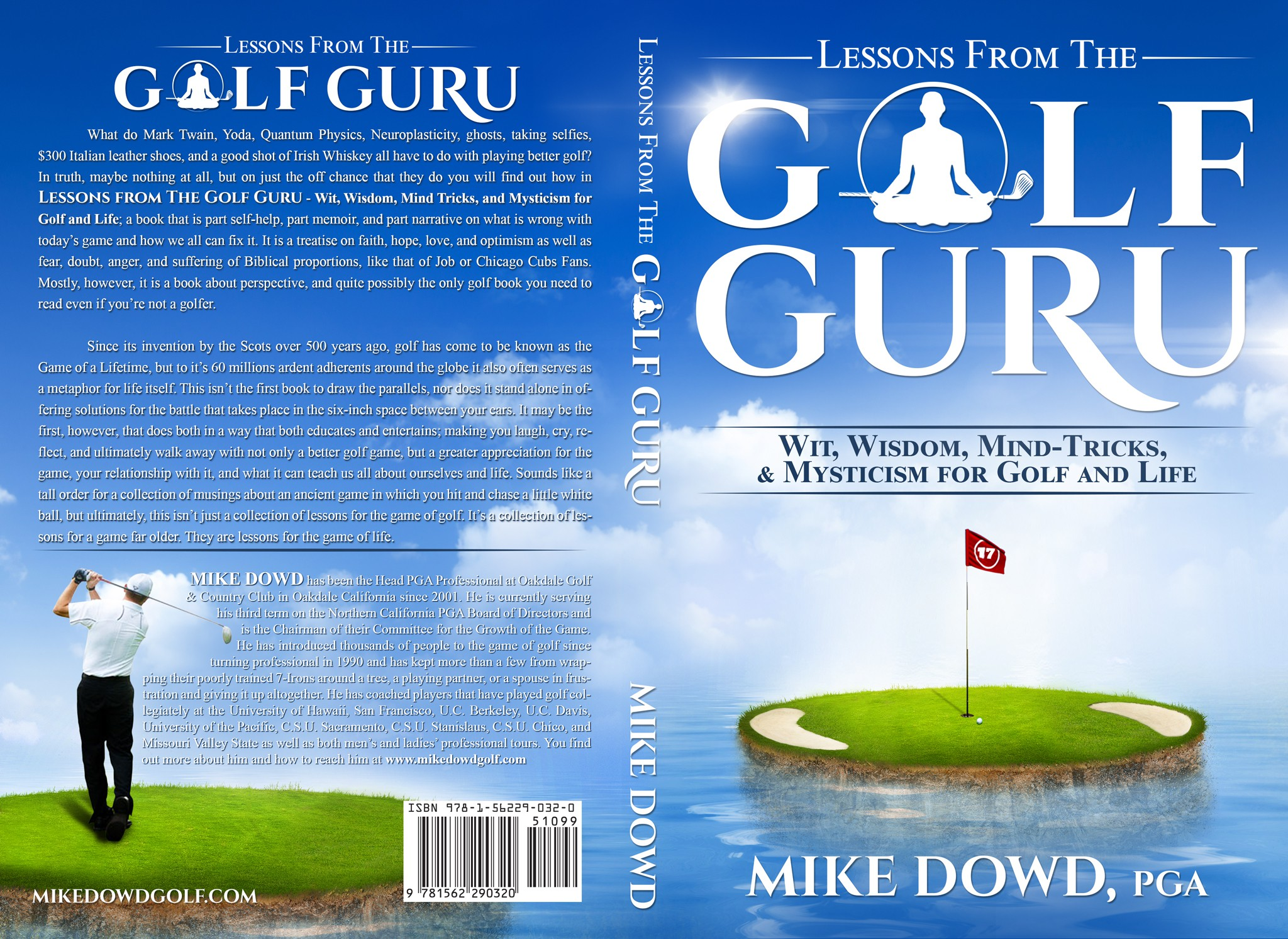 Create a uniquely artistic, mysterious, and captivating golf book cover with just a hint of humor