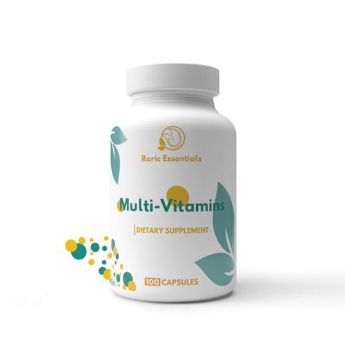 Multi vitamins bottle label