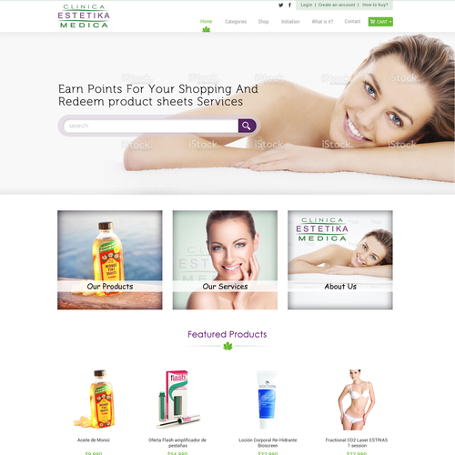 Clean and Responsive e-store for Aesthetics and Wellness services and products