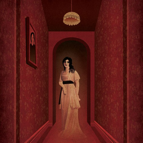 Creepy Old Fashioned Ghost Woman in Eerie Hallway