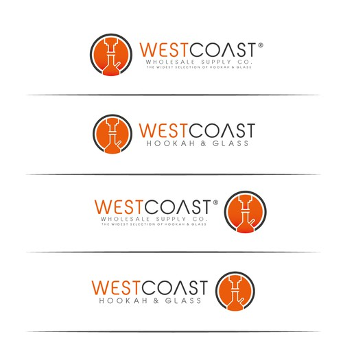 West Coast Hookah & Glass Logo Design. Simple and Clean Logo. BUT NEEDS TO BE UNIQUE