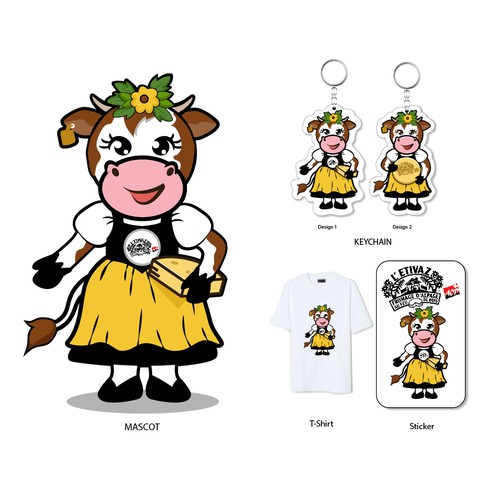 Cartoon mascot for cheese factory