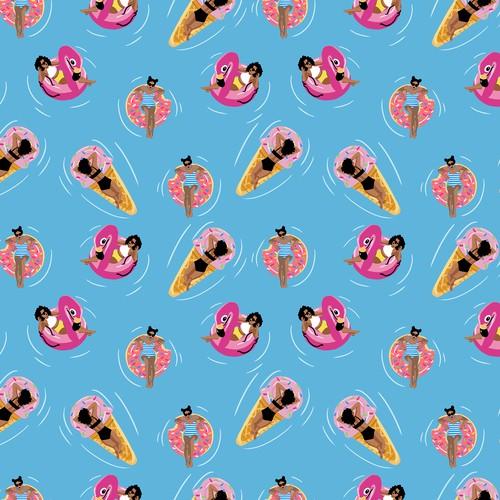 Summer theme seamless pattern design