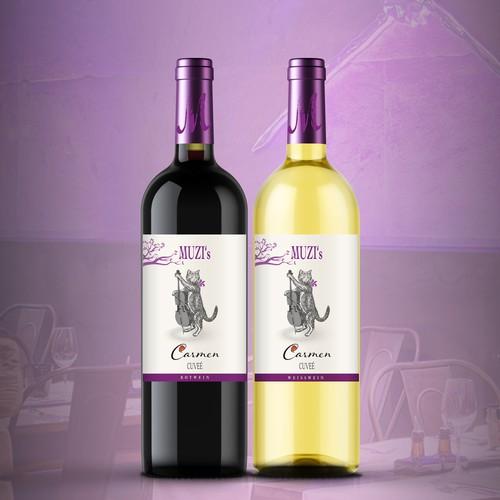 MUZI's restaurant wine label