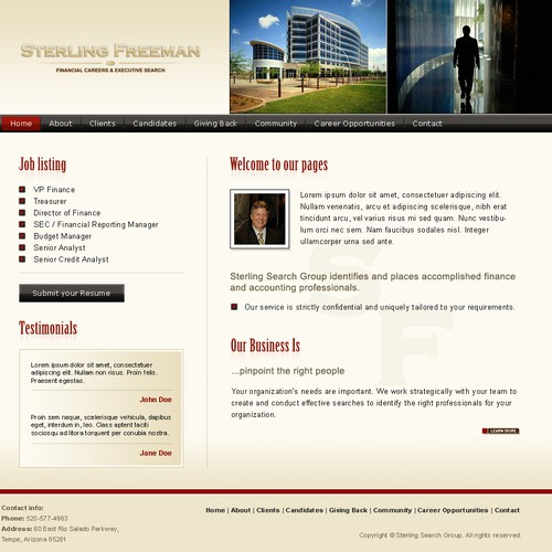 Website for an Executive Search group