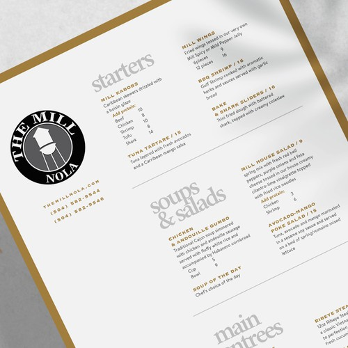 High end casual restaurant menu design