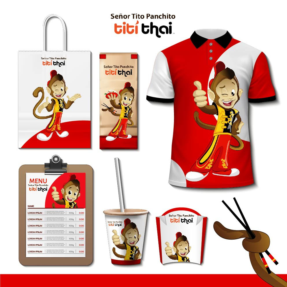 Design Titi Monkey Character/Mascot for a Thai Fast Food Restaurant Chain