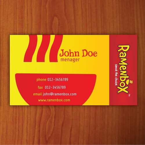 Ramenbox.com business cards (logo provided)
