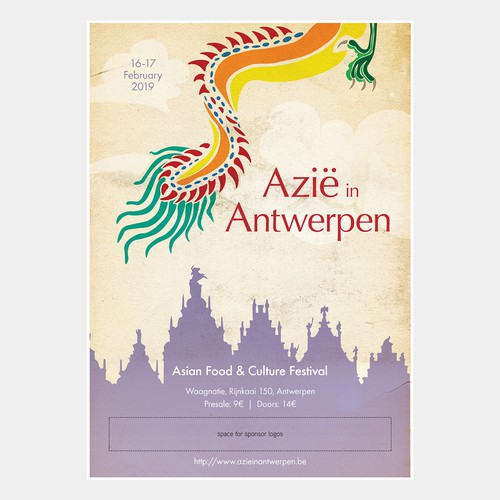 Event poster for an Asian Food and Culture Festival in Antwerp, Belgium.