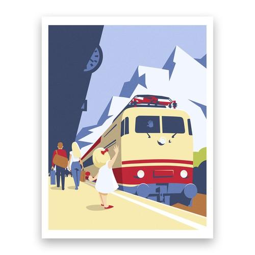 Illustration for railway themed magazine