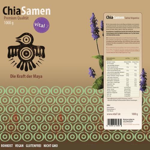 Erstellt ein natürlich Etikett für Chia Samen im Bereich Nahrungsergänzungsmittel