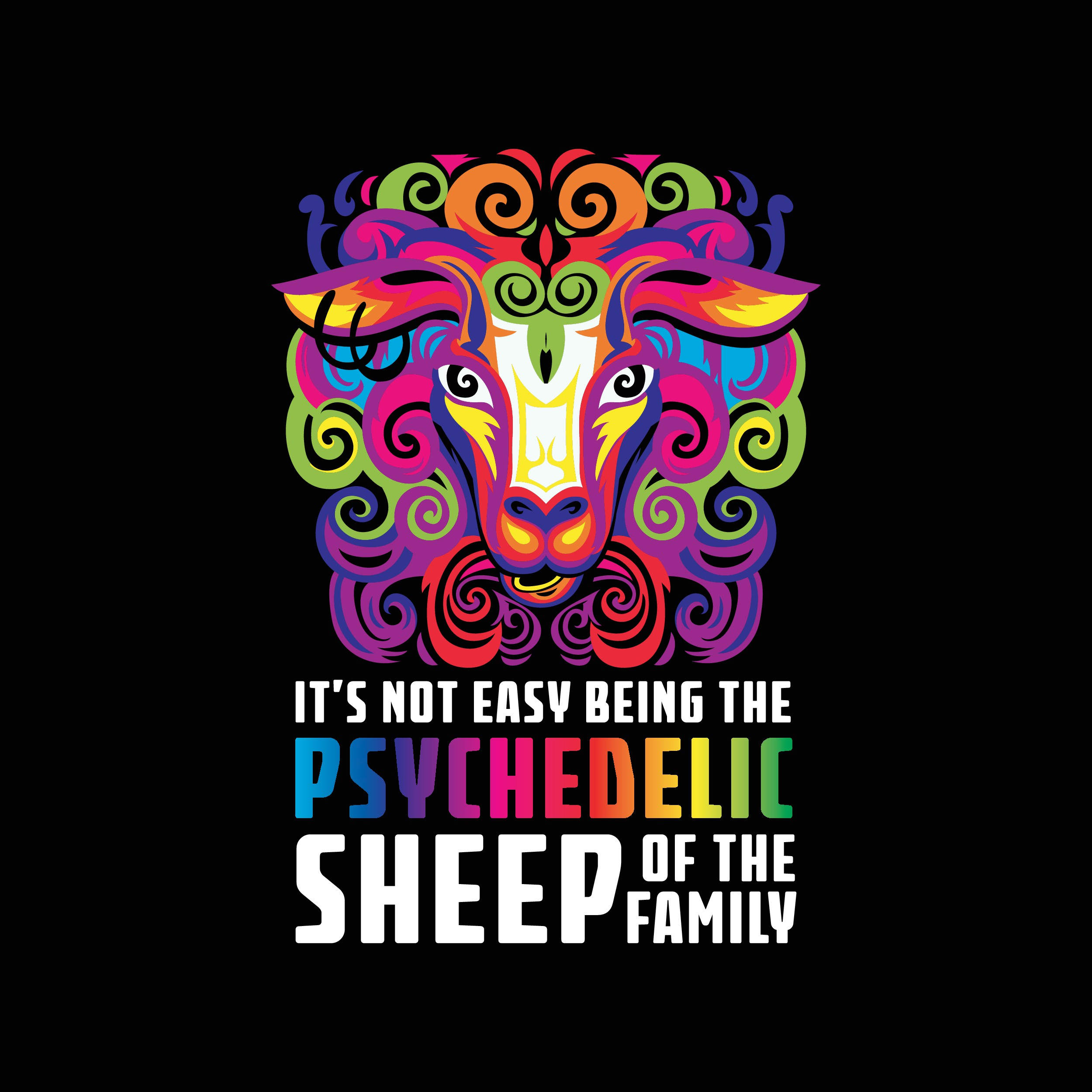 """Design a Psychedelic sheep illustration for T-shirt"""