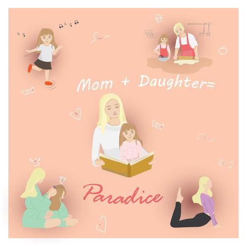 Mom and daughter postcard illustration