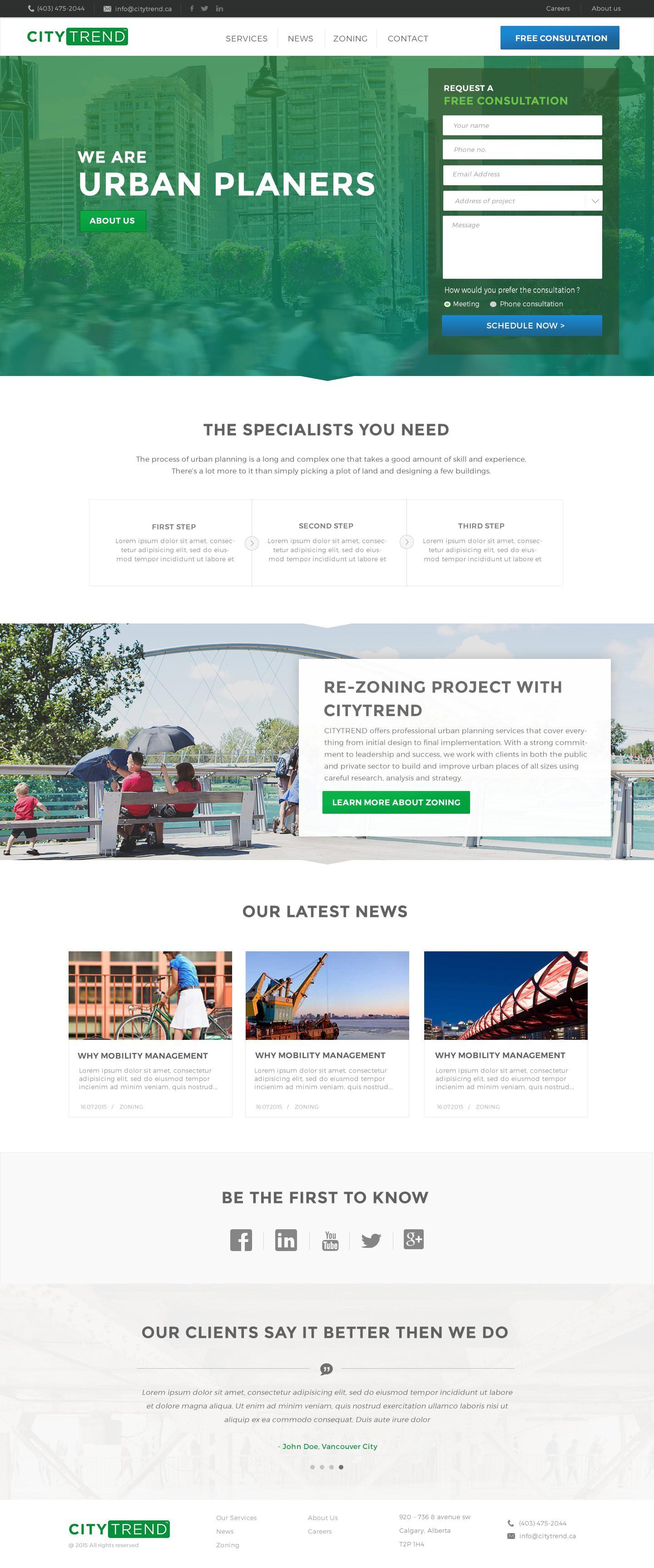 New website design for Urban Planning firm CITYTREND