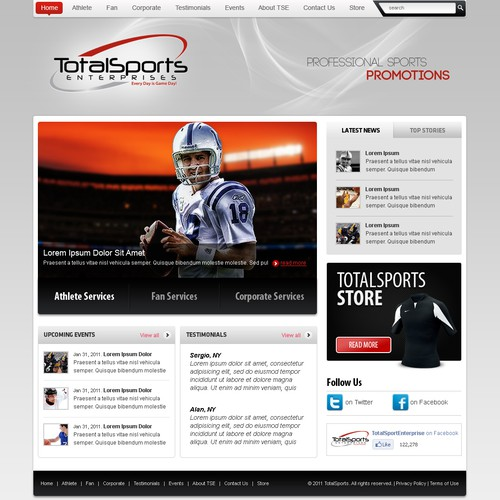 Professional Athlete Marketing Firm Seeks Clean Web Page Design