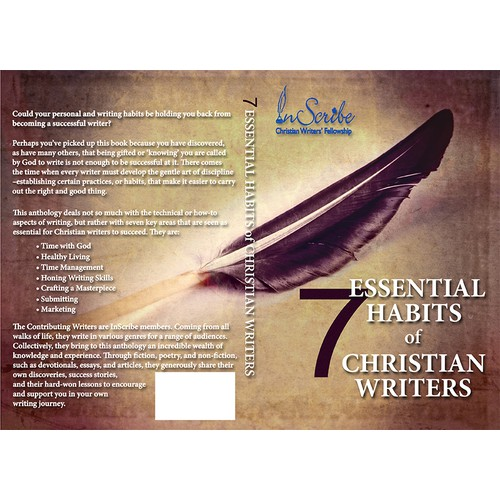 Create a captivating book cover for anthology, 7 Essential Habits of Christian Writers
