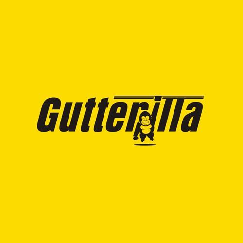 Gutterilla - design friendly minimal gutter gorilla logo.