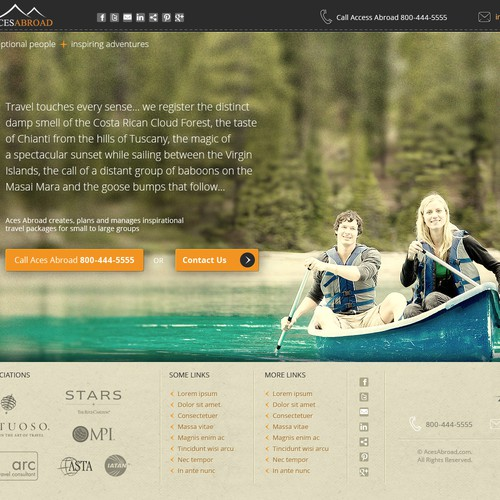 Website design for Aces Abroad : exceptional people, inspiring adventures