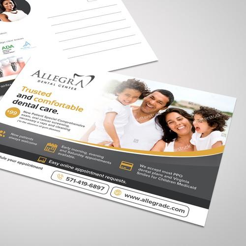 Postcard design for Allegra Dental Center