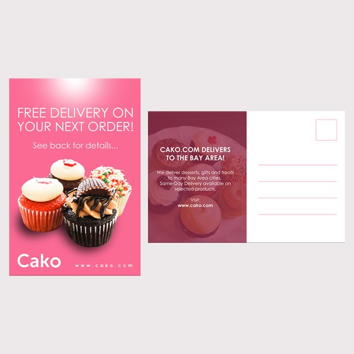 Postcard/handout design for SF cupcake chain