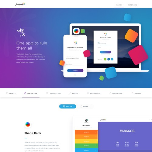 Homepage for web app